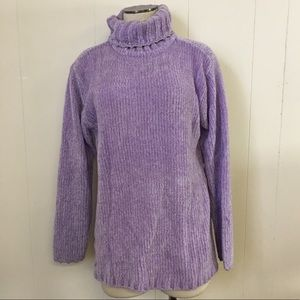 Vintage 90s Pastel Lilac Purple Turtleneck Sweater